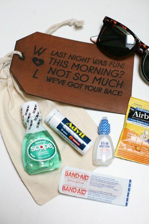 A canvas drawstring bag with all the essentials: Sunglasses, Advil, and more | Brides.com