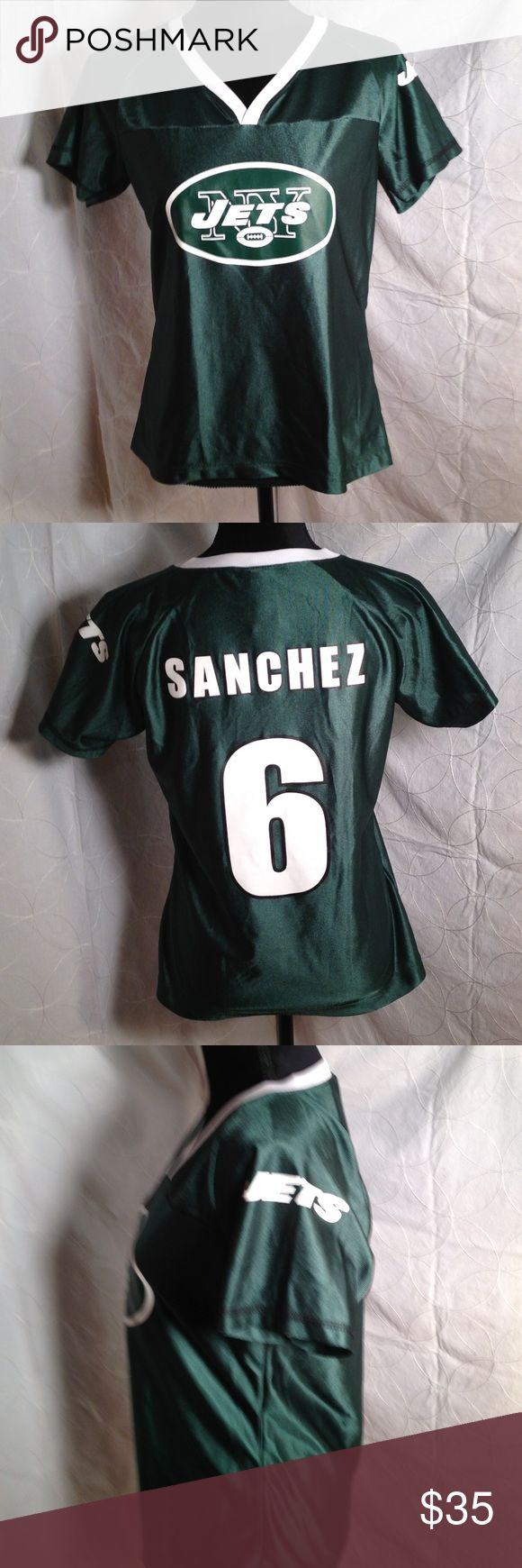 REEBOK NFL Team Apparel JETS (6) Are You Ready for Some Football?!?! SANCHEZ across back shoulders. Screen print design is Pristine! Not Mesh but satiny material. Perfect for Any JETS or Sanchez fan! NFL Team Apparel. NFL Team Apparel Other
