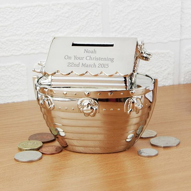 Personalised Silver Noah's Ark Money Box