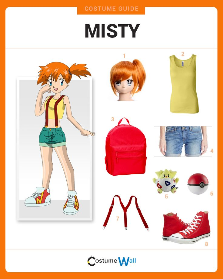 Dress like Misty from the popular TV show and video game, Pokemon. Get cosplay inspiration and more Misty costume ideas.