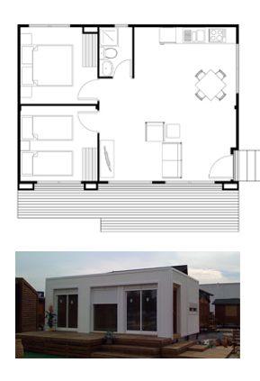 Un modelo de casa de 40 m2 cuenta con dos habitaciones ideal para refugio de descanso en la - Refugios de madera prefabricados ...