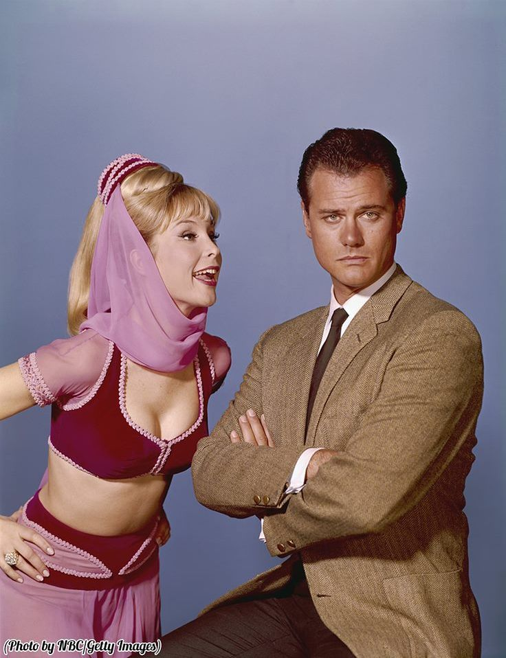 Larry Hagman and Barbara Eden in 'I Dream of Jeannie,' 1960s.