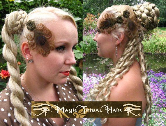 piuma 2 x STEAMPUNK pavone gioielli capelli di MagicTribalHair