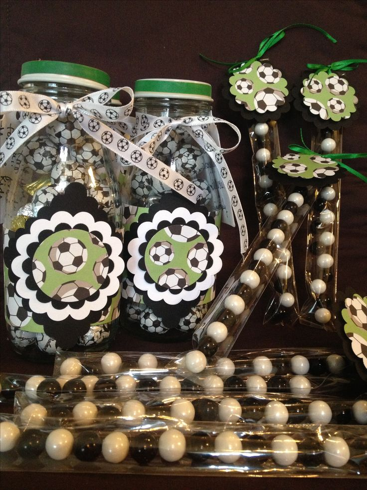 Soccer theme party favors. Upcycled Starbucks Frappuccino bottle filled with candy. Great for coach thank you gift! Custom orders at Be Sew Kind on Facebook.