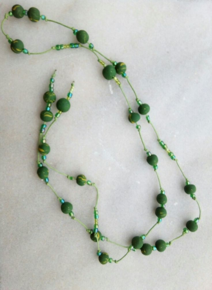 Long open necklace with green clay beads. In cooperation  with my friend Mary. Thank you.