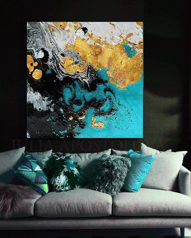 ODN Background Abstract Painting Wall Art Printed on Canvas for Living Room Decor 50x50cm