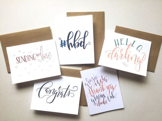 Send some love and encouraging words for all of the special moments! Five different greeting cards in one set. Includes five cards and five kraft