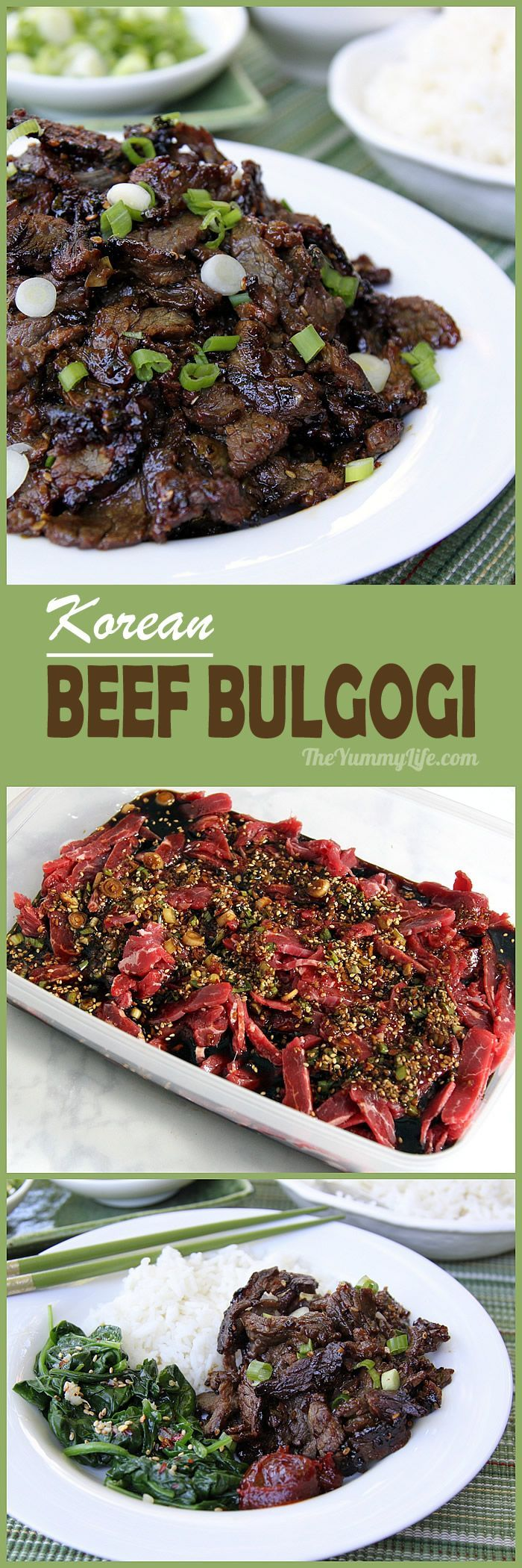 Korean Beef Bulgogi is an easy stir fry with amazing flavor and tender texture. Use it in rice bowls, bibimbap, Korean tacos, sandwiches and sliders.  From The Yummy Life #bulgogi #koreanrecipe #beefbulgogi #dinnerideas