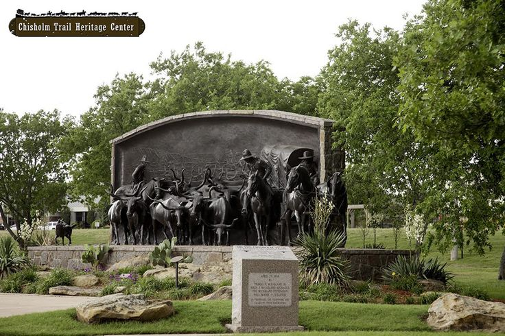 On the Chisholm Trail bronze by Paul Moore, Oklahoma artist/sculptor. Chisholm Trail Heritage Center, Duncan, OK