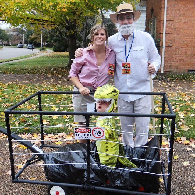 jurassic park halloween, family costume, toddler dinosaur, professor, electric fence wagon