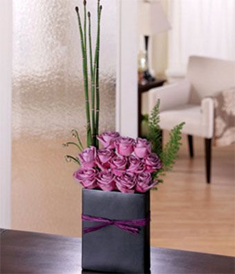 Dozen Lavender Roses in a Modern Flower Arrangement for Delivery