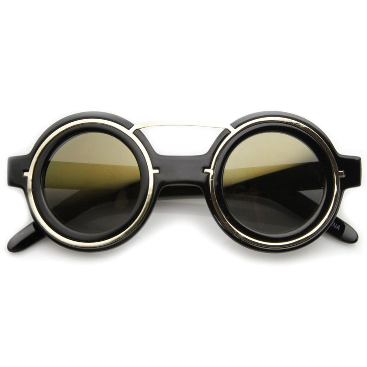 Steampunk Womens Fashion Round Sunglasses Metal Accents 8957