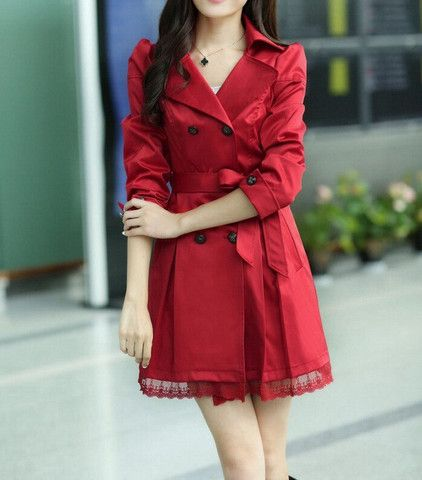 Lace Splicing Double-Breasted Polyester Long Sleeves Dust Coat – teeteecee - fashion in style