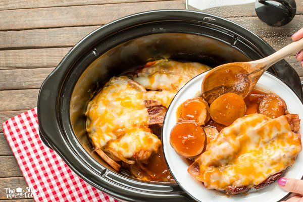 This Slow Cooker Sweet Baby Ray's Barbecue Pork Chops and Potatoes isn't your usual pork slow cooker meal!