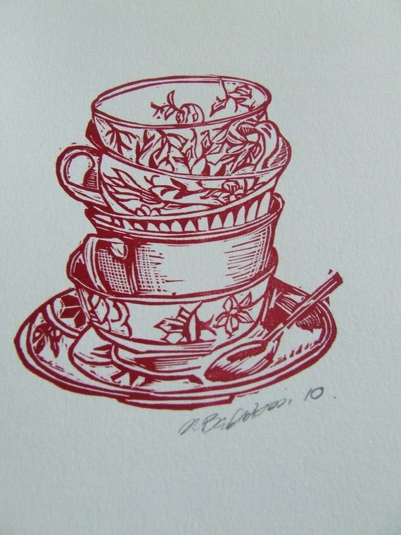 "lino cut tea cups by Narelle Badalassi ""I specialise in original handcarved lino block prints with a bit of letterpress thrown in for good measure."""