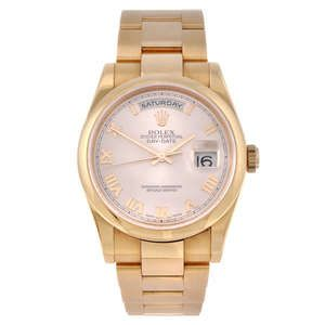 LOT:343 | CURRENT MODEL: ROLEX - a gentleman's 18ct Everose gold Oyster Perpetual Day-Date 36 bracelet watch.