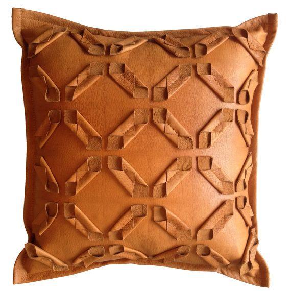 Leather Geometric Cut Pillow Fabric Manipulation by livandwork, $85.00