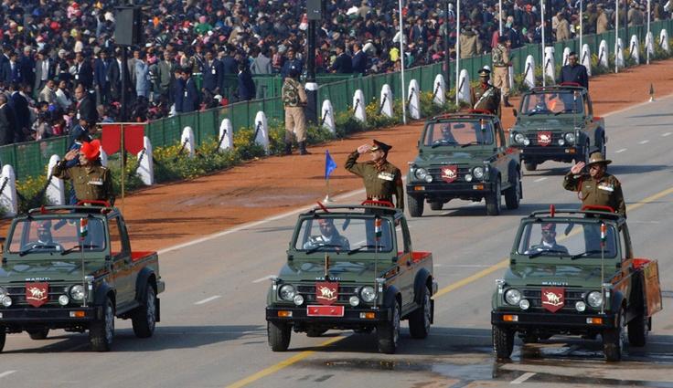 The Param Vir Chakra and Ashok Chakra Awardees passes through the Rajpath during the 64th Republic Day Parade-2013