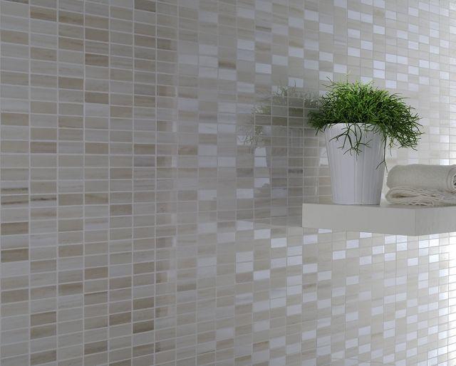 Wand Mosaik Fliesen Braun Weiss Glanzvoll | Badezimmer Gestaltungsideen |  Pinterest