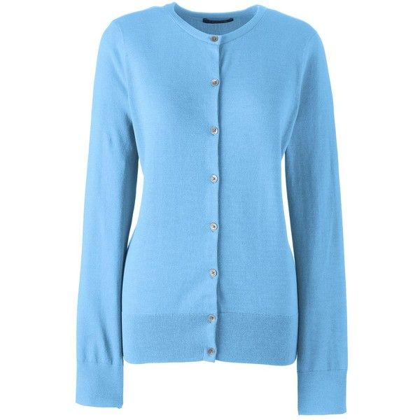 Lands' End Women's Petite Supima Cotton Cardigan Sweater ($49) ❤ liked on Polyvore featuring plus size women's fashion, plus size clothing, plus size tops, plus size cardigans, blue, petite tops, lands end tops, cotton cardigan, blue cardigan and cardigan top