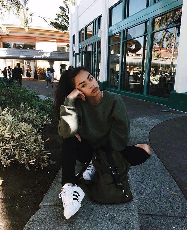 Pinterest: @barbphythian || ootd | khaki sweater/jumper & black (knee) ripped jeans & adidas superstar