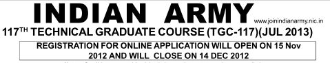 indian army recruitment for 117th technical graduate course 2013 Application form @ www.joinindianarmy.nic.in & www.indianarmy.nic.in