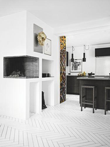 White herring bone floor tiles. Cristali-fireplace tiles madeamano.com