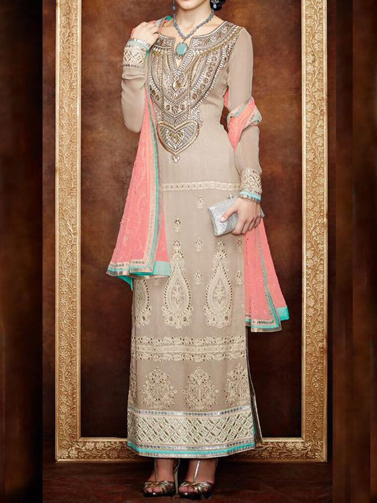 Elegant, classy and exquisite, This Fab Beige and Pink Lucknowi style Suit is like a lucid dream - See more at: http://www.akalors.in/Salwar-Kameez/Elegant-Biege-and-Pink-Faux-Georgette-Designer-Wear-Suit-id-1889045.html#sthash.WTY0lIQl.dpuf