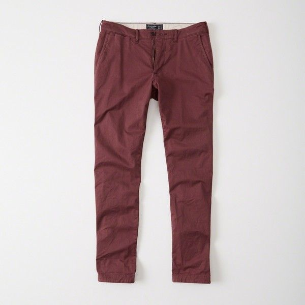 Abercrombie & Fitch Skinny Chino Pants ($68) ❤ liked on Polyvore featuring men's fashion, men's clothing, men's pants, men's casual pants, burgundy, mens skinny fit dress pants, mens chino pants, mens zip off pants, mens skinny chino pants and mens burgundy pants