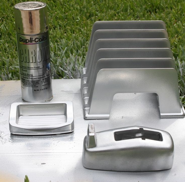 Revamp old desk accessories with metallic automotive spray paint - many paint ideas using high gloss spray paint. Much more realistic for metal look.