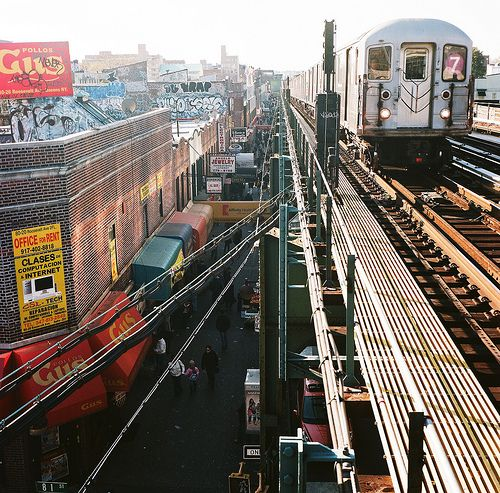 Roosevelt Ave, Jackson Heights, Queens; the New York Daily News recently named Jackson Heights as an up-and-coming neighborhood for New Yorkers priced out of Brooklyn and Manhattan.