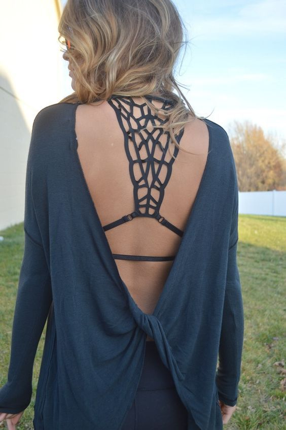 Image of Charcoal Open Back Sweater: