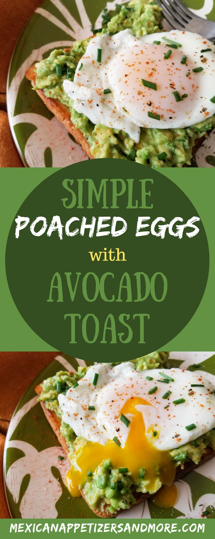 This Simple Poached Egg and Avocado Toast recipe is the most perfect delicious healthy breakfast. Breakfast of champions! With an avocado spread made with cayenne pepper, chives and topped with a perfectly poached egg. #avocadotoast #poachedeggs #avocadorecipes #mexicanbreakfast #breakfast \ mexicanappetizersandmore.com