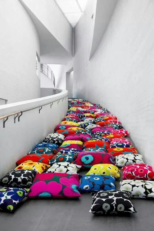 Marimekko's Unikko in Kiasma Contemporary Art Museum Helsinki. Items available at https://www.goodshaus.com/MARIMEKKO-Kissenbezug-Pieni-Unikko-50X50cm-Weiss-Rot