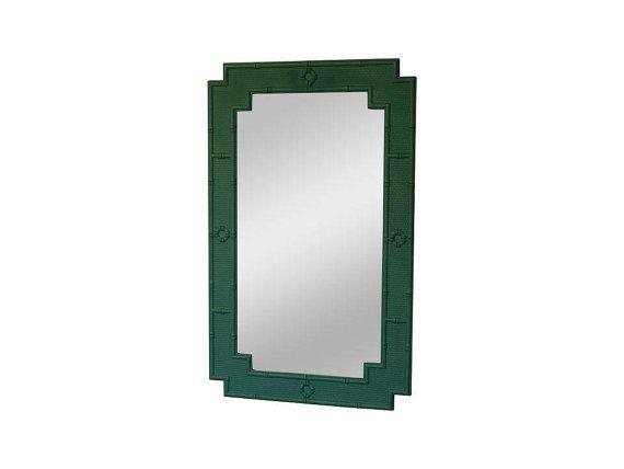 Faux Bamboo Mirror Matte Emerald Green | Custom Paint Faux Bamboo Mirror | Faux Bamboo Mirror | Bamboo Mirror | Green Mirror