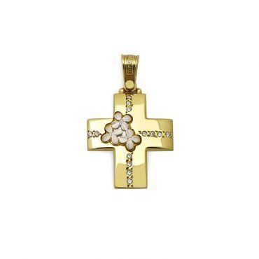 Μοντέρνος βαπτιστικός σταυρός για κορίτσι χρυσός Κ14 με γυαλιστερή λουστρέ επιφάνεια και λευκό σειρέ | Βαπτιστικοί σταυροί ΤΣΑΛΔΑΡΗΣ στο Χαλάνδρι #τριάντος #βαπτιστικοί #σταυροί #κορίτσια