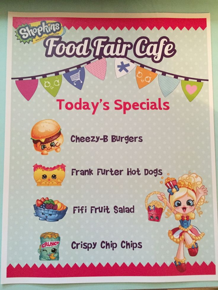 Food sign for shopkins bday
