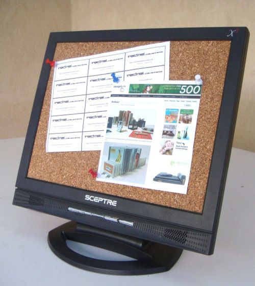 Repurposed old monitor into a push pin board. #recycle
