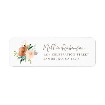 Elegant Watercolor Rose Flowers Bouquet Wedding Label Wedding