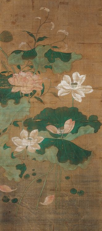 Asian Arts Chinese painting Pink and White Lotus, 14th century, Yuan dynasty (1279–1368), Hanging scroll; mineral pigments on silk.