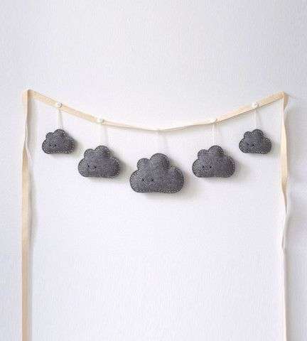 Needle & I | Rainy Day Clouds Garland Grey