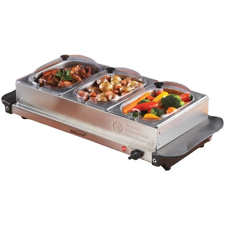 Buffet Server 3 Warming Tray Three Stainless Steel Pans Party Food Warmer Heat #BRENTWOOD