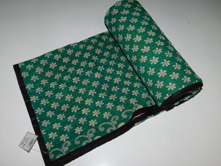 INDIAN OLD KANTHA QUILTS HANDMADE BED SHEET VINTAGE BEDSPREAD BLANKET THROW GB87 #Handmade #VintageRetro