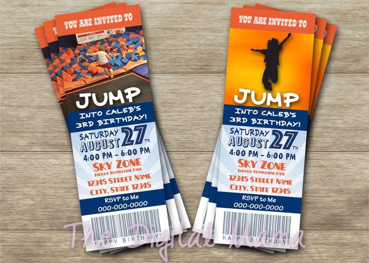 Trampoline Birthday Party Invitation - Sky Zone Birthday Invitation - Jump…