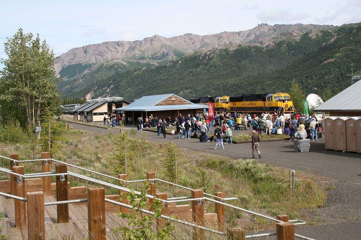 A photograph of the Alaska Railroad station at Denali National Park.
