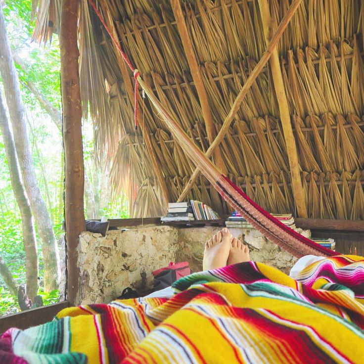 Probably the most beautiful place I've woken up in this year - a Mayan hut in the Mexican jungle. All that was in it was a bed, a hammock, books and candles. No electricity and no doors - so peaceful...