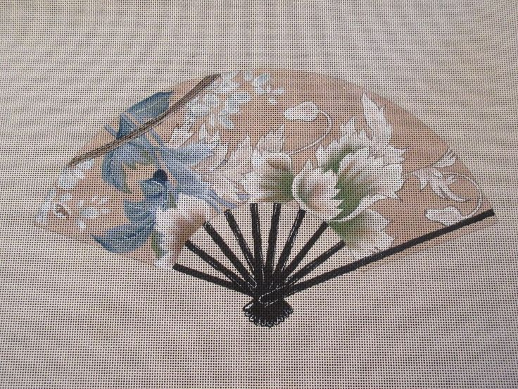 Lani: Fan w/blue and white leaves #782B Hand Painted Needlepoint Canvas