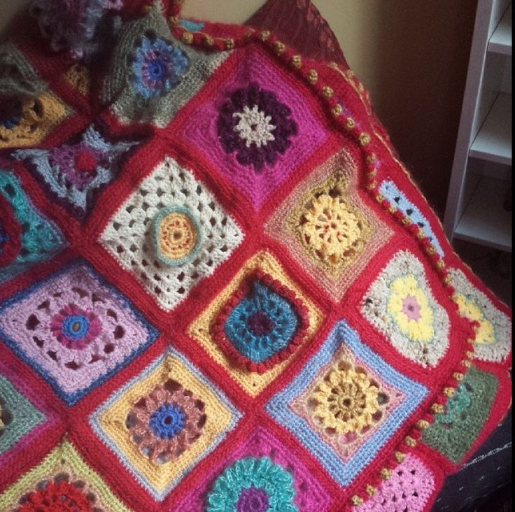 Granny rug with all my old wool leftovers and some new stuff
