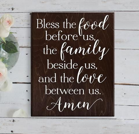 "Eat Pray Love Wood Sign Wall Decor for Kitchen FEATURES: Size is 5.5"" x 18"" White Painted Lettering Includes keyhole on back for easy wall hanging Handmade at our sign studio Dark Wood Stain"