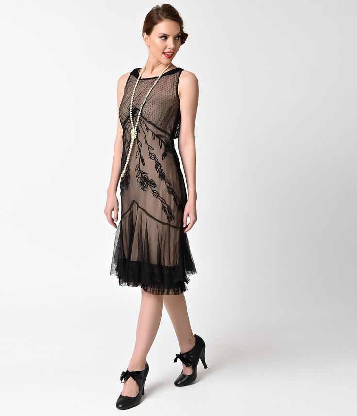 Vintage Style 1920s Inspired dress, black